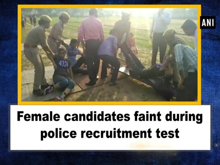 Female candidates faint during police recruitment test