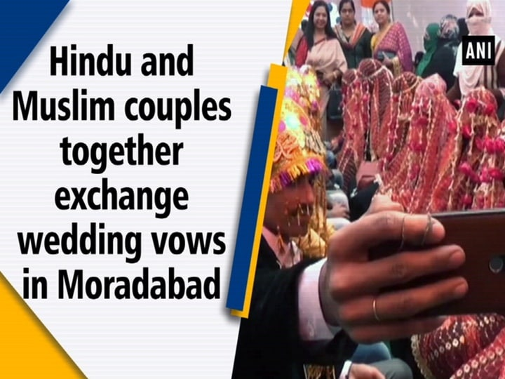 Hindu and Muslim couples together exchange wedding vows in Moradabad