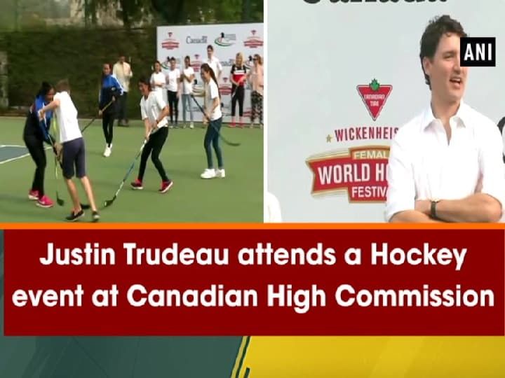 Justin Trudeau attends a Hockey event at Canadian High Commission