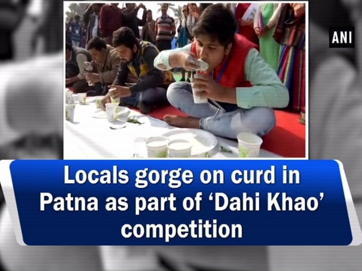 Locals gorge on curd in Patna as part of 'Dahi Khao' competition