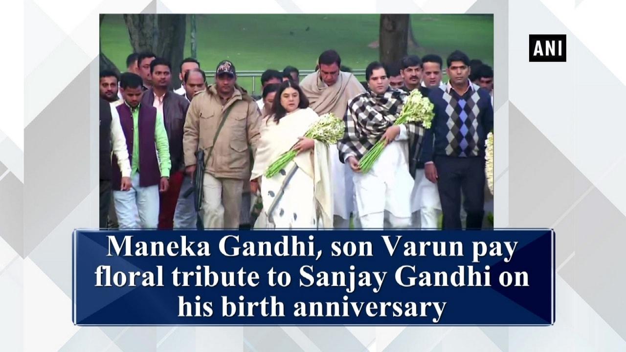 Maneka Gandhi, son Varun pay floral tribute to Sanjay Gandhi on his birth anniversary