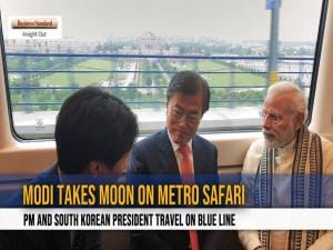 Narendra Modi takes Moon Jae-in on metro safari to Noida