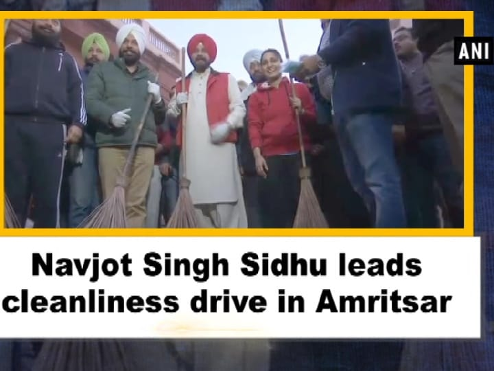 Navjot Singh Sidhu leads cleanliness drive in Amritsar