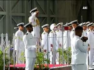 Navy chief Admiral Sunil Lanba receives Guard of Honour