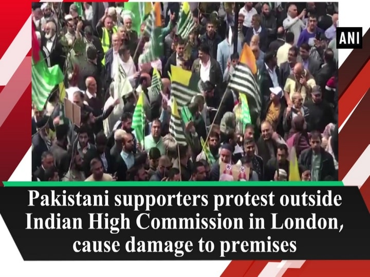 Pakistani supporters protest outside Indian High Commission in London, cause damage to premises