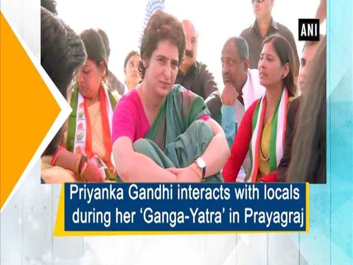 Priyanka Gandhi interacts with locals during her 'Ganga-Yatra' in Prayagraj