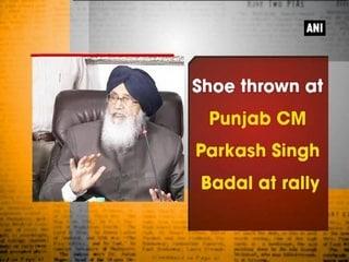 Shoe thrown at Punjab CM Parkash Singh Badal at rally