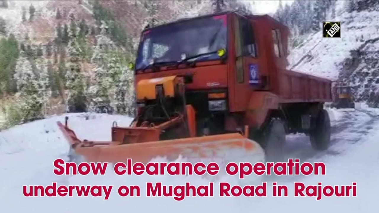 Snow clearance operation underway on Mughal Road in Rajouri
