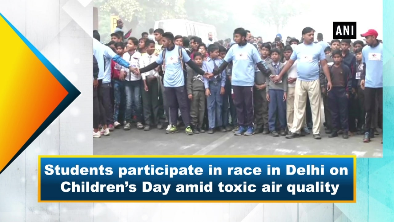Students participate in race in Delhi on Children's Day amid toxic air quality