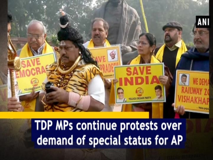 TDP MPs continue protests over demand of special status for AP