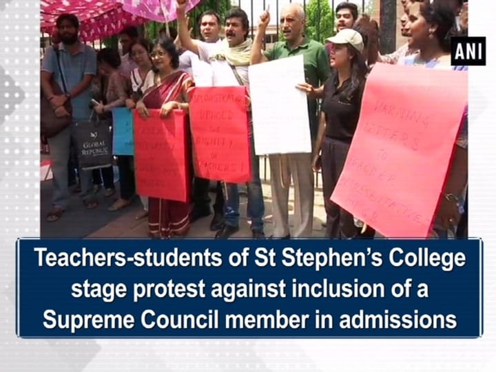 Teachers-students of St Stephen's College stage protest against inclusion of a Supreme Council member in admissions
