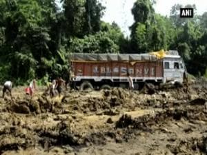 Vehicles remain stranded on national highway in Assam