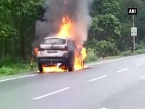 Watch: Car bursts into flames in seconds