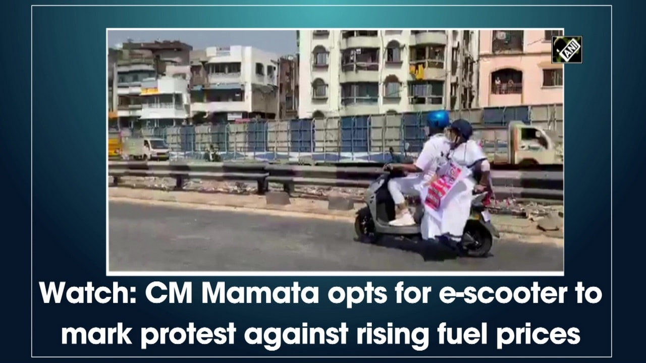 Watch: CM Mamata opts for e-scooter to mark protest against rising fuel prices