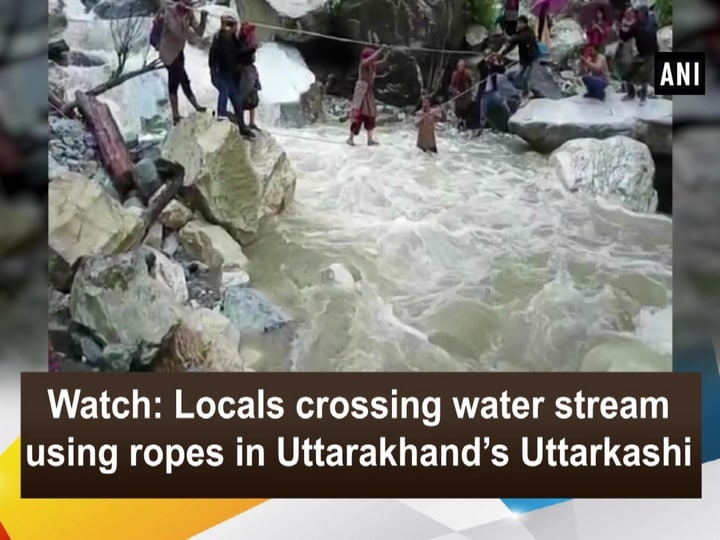 Watch: Locals crossing water stream using ropes in Uttarakhand's Uttarkashi