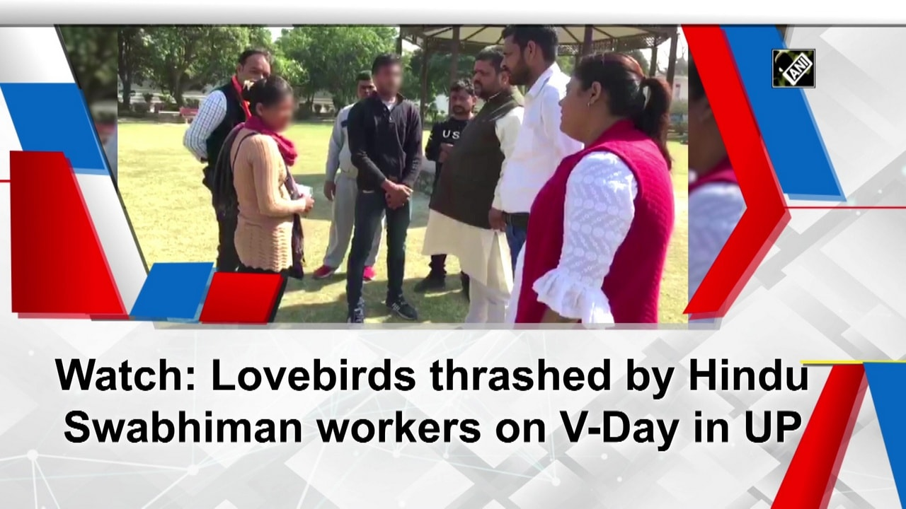 Watch: Lovebirds thrashed by Hindu Swabhiman workers on V-Day in UP