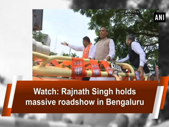 Watch: Rajnath Singh holds massive roadshow in Bengaluru
