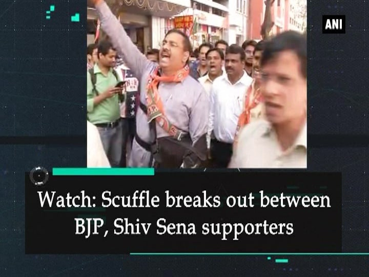 Watch: Scuffle breaks out between BJP, Shiv Sena supporters