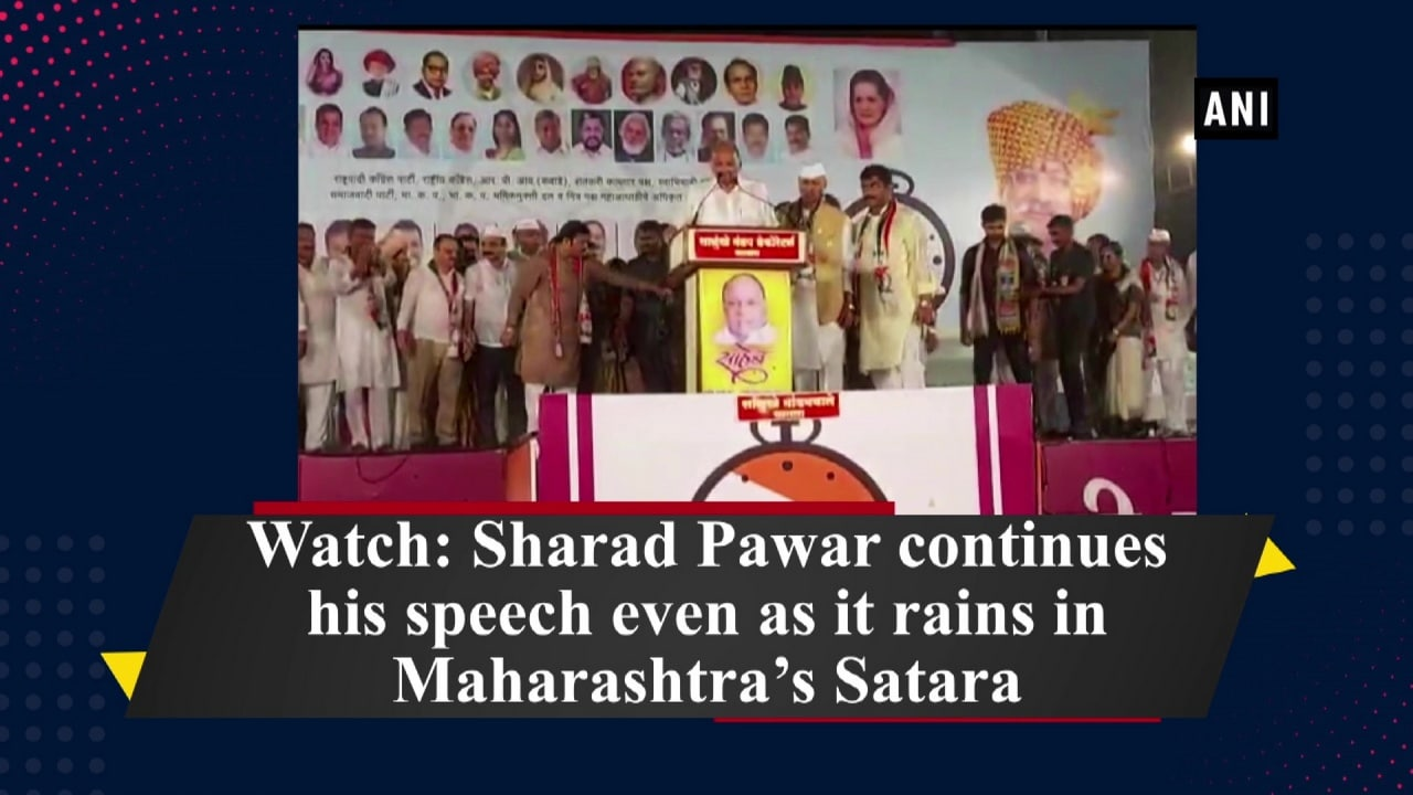 Watch: Sharad Pawar continues his speech even as it rains in Maharashtra's Satara