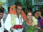 Very happy that I was able to win Wimbledon for our country: Sania on her arrival in Hyderabad