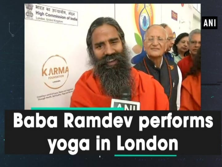 Baba Ramdev performs yoga in London