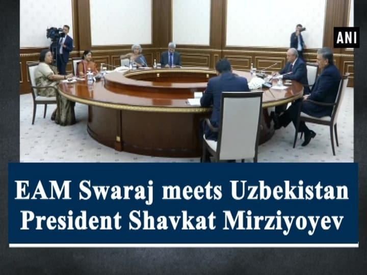 EAM Swaraj meets Uzbekistan President Shavkat Mirziyoyev
