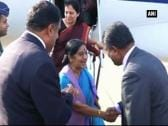 India's Foreign Minister Sushma Swaraj arrives in Sri Lanka, to meet PM Ranil Wickremesinghe