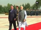 PM Modi accorded ceremonial welcome in Dushanbe