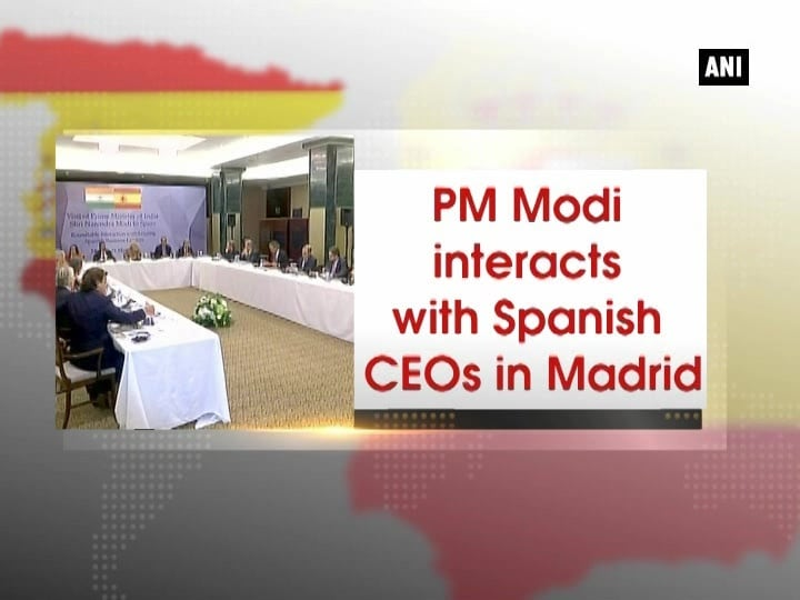 PM Modi interacts with Spanish CEOs in Madrid