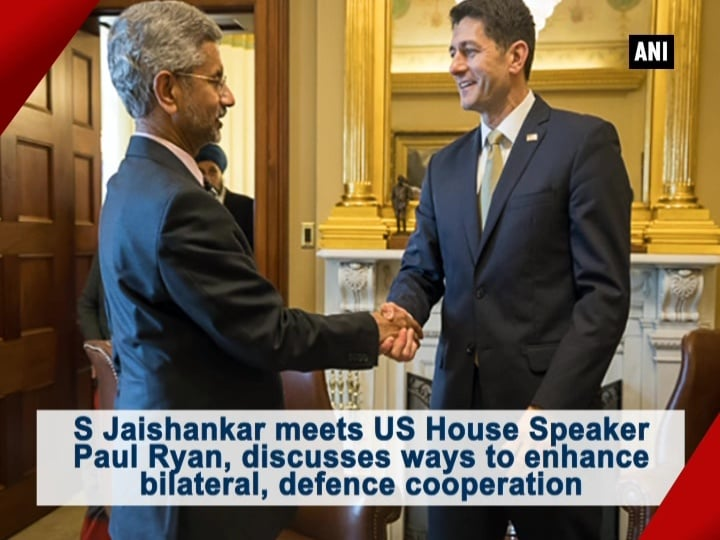S Jaishankar meets US House Speaker Paul Ryan, discusses ways to enhance bilateral, defence cooperation