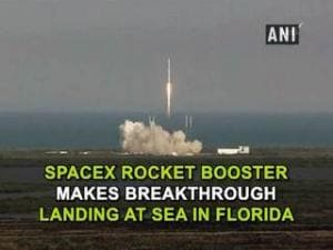 SpaceX rocket booster makes breakthrough landing at sea in Florida