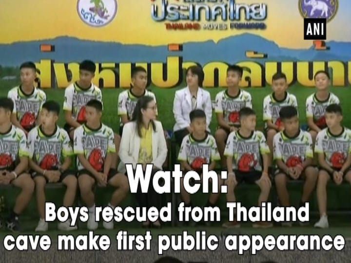 Watch: Boys rescued from Thailand cave make first public appearance