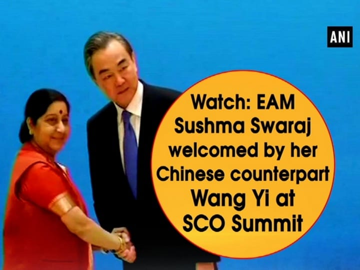 Watch: EAM Sushma Swaraj welcomed by her Chinese counterpart Wang Yi at SCO Summit