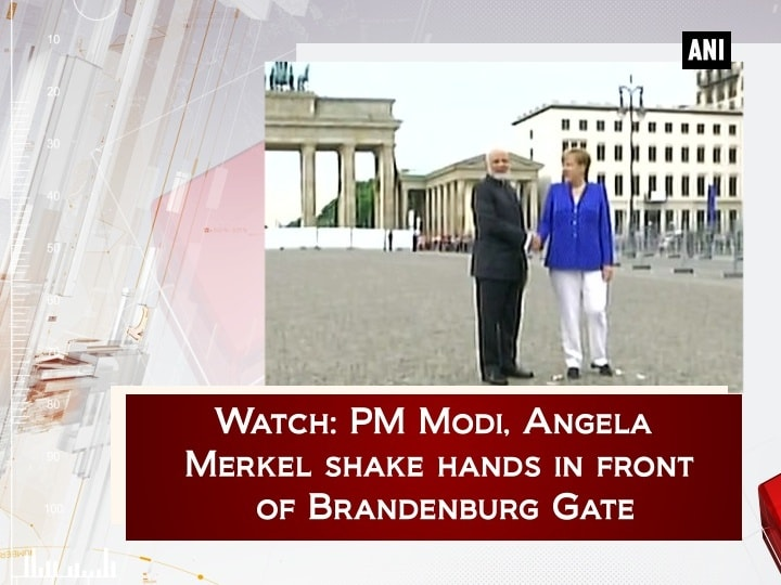Watch: PM Modi, Angela Merkel shake hands in front of Brandenburg Gate
