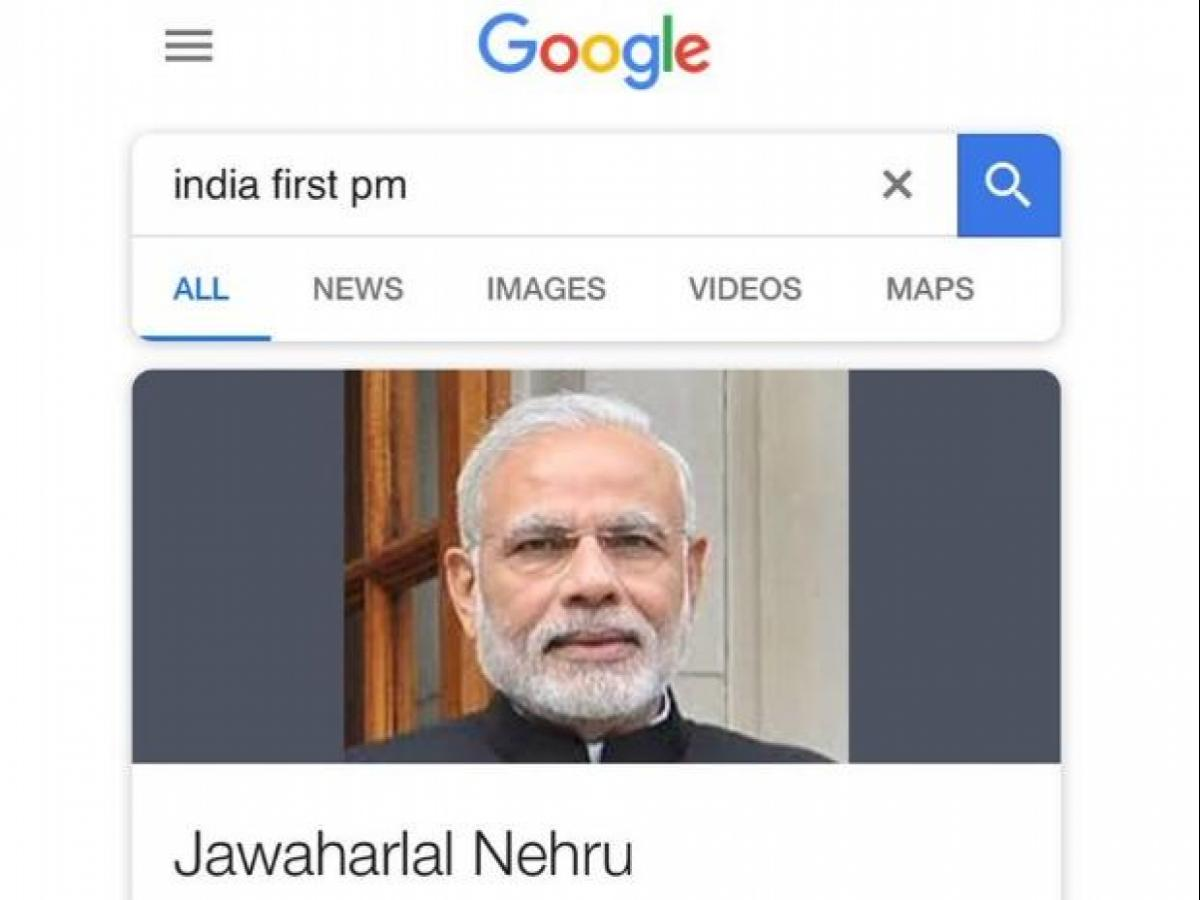 First Indian PM? Google shows Modi's face with Nehru's name