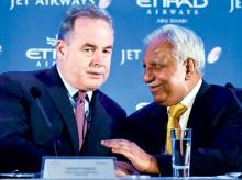James Hogan with Naresh Goyal. The two are said to have been at loggerheads over the choice of an European hub