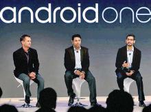 From right: Google's Rajan Anandan, Sundar Pichai, Caesar Sen Gupta