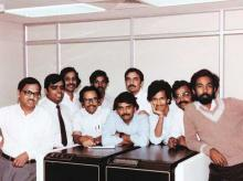 (Clockwise from top) N R Narayana Murthy (extreme left) with the early Infosys team and at Indian Institute of Management, Ahmedabad