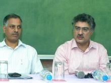 (L-R): Vijay Paul Sharma, Chairperson - PGP-ABM at Indian Institute of Management, Ahmedabad (IIM-A); Ashish Nanda, Director, IIM-A at a press conference within IIM-A campus in Ahmedabad (pic: Yasin D)