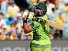Pakistan's Shahid Afridi watches his shot while batting against Australia during their Cricket World Cup quarterfinal match in Adelaide, Australia, Friday, March 20, 2015