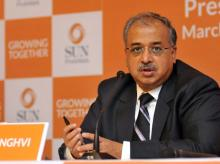 Dilip Shanghvi, MD, Sun Pharmaceutical Industries announces the sealing of merger deal with Ranbaxy, in Mumbai (pic: Suryakant Niwate)
