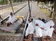 Gujjar community people during their ongoing agitation or reservation at the railway tracks in Bharatpur district