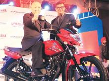 Yamaha India MD Masaki Asano (on the bike) with Roy Kurian, VP (sales & marketing), at the launch of Saluto