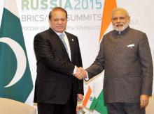 Prime Minister Narendra Modi shakes hands with his Pakistani Counterpart Nawaz Sharif during a meeting at UFA in Russia