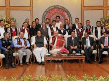 Prime Minister Narendra Modi with Union Home Minister Rajnath Singh, Chairman of NSCN (IM) Isak Chishi Swu, NSCN (IM)General Secretary Thuingaleng MuivahNSA, Ajit Doval and others at the signing ceremony of historic peace accord between Government of