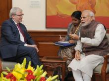 APEC Task Force head Kevin Rudd with India PM Narendra Modi in New Delhi