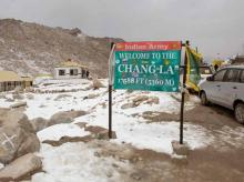 At 17,590 feet above sea level, Chang La is one of the highest motorable passes in the world