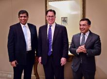 Michael Dell(C), Chairman & CEO, Dell Inc, Amit Midha (R), President, Dell Asia Pacific & Japan and Alok Ohrie(L), President & Managing Director, Dell India pose before a media roundtable meeting in Bengaluru