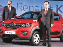 Carlos Ghosn (right), chairman & CEO, Groupe Renault, along with Sumit Sawhney, country CEO & MD, Renault India Operations, at the launch of the auto maker's latest model Kwid