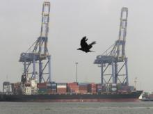 A crow flies past a container ship docked at a port in Vallarpadam in Kochi